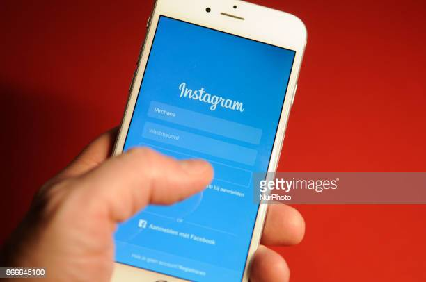 The login screen of the Instagram application is seen on an iPhone on October 25 2017