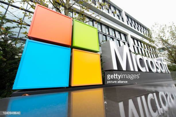 The logo and the facade of the new Microsoft Germany headquarters in Munich Germany 06 October 2016 The new headquarters of the US Group will be...