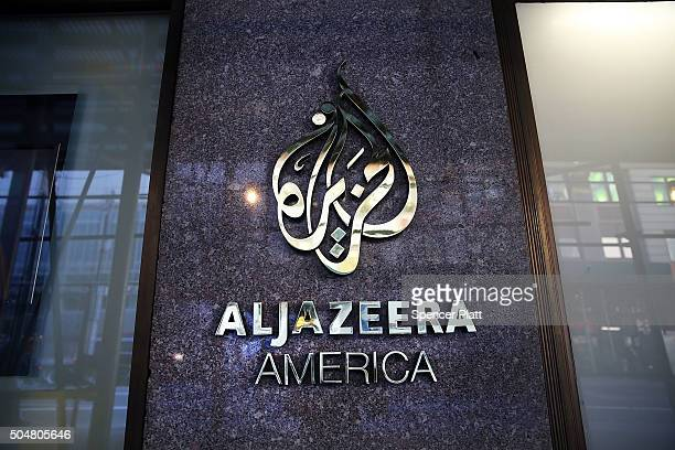 The logo for Al Jazeera America is displayed outside of the cable news channel's offices on January 13 2016 in New York City Al Jazeera America which...