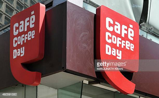 The logo for Indian coffee retail chain Cafe Coffee Day is seen at an outlet in Bangalore on October 14 2015 India's Cafe Coffee Day chain launched...