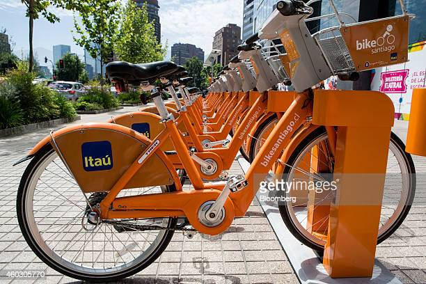The logo for Itau Unibanco Holding SA is displayed on bicycles part of a bikesharing program in Santiago Chile on Tuesday Dec 2 2014 Chilean...