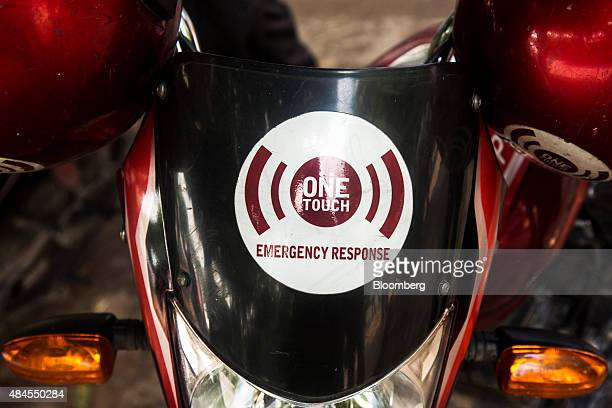 The logo for private emergency service One Touch Response is displayed on a company motorcycle in New Delhi India on Monday August 17 2015 One Touch...
