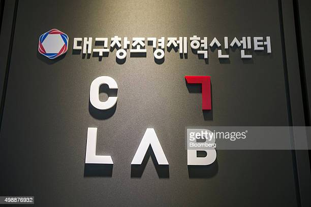 The Logo for Samsung Electronics Co Creative Lab is displayed at Daegu Center for Creative Economy and Innovation in Daegu South Korea on Thursday...