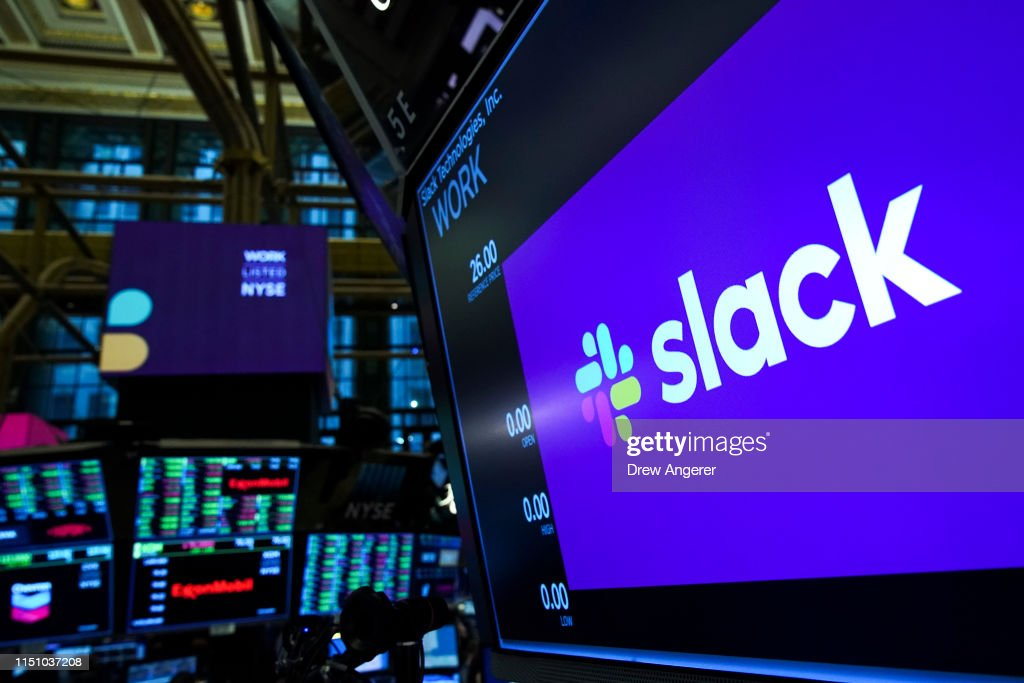 Workplace Messaging App Slack Listed On New York Stock Exchange : News Photo