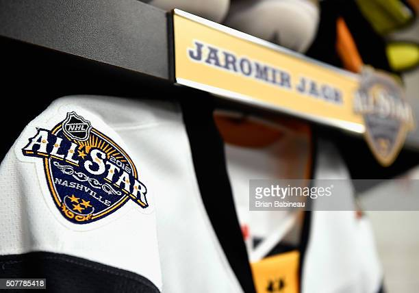 The logo for the 2016 NHL AllStar game is seen on the jersey of Jaromir Jagr of the Florida Panthers hanging in the Eastern Conference locker room...