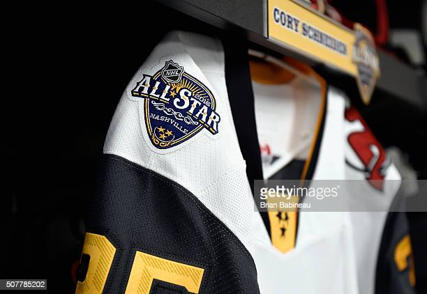 The logo for the 2016 NHL AllStar game is seen on the locker stall Cory Schneider of the New Jersey Devils in the Eastern Conference locker room...