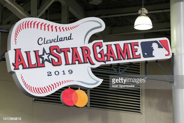 The logo for the 2019 Major League Baseball All-Star Game is displayed on the left field stands prior to the Major League Baseball game between the...