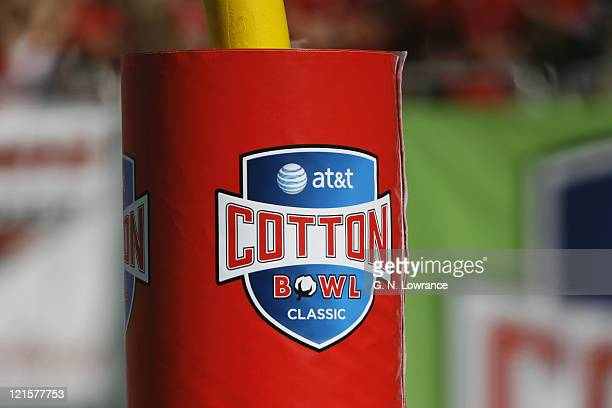 The logo for the ATT Cotton Bowl in Dallas Texas on a goalpost pad during the game between Alabama and Texas Tech on January 2 2006