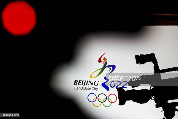 The logo for the bid of Beijing 2022 Olympic Winter Games on December 18 2014 in Beijing China Zhao Yinggang vice secretarygeneral of Beijing 2022...