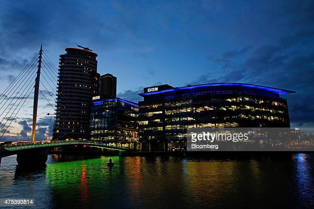 The logo for the British Broadcasting Corporation sits on top of buildings at MediaCityUK in Salford Quays Manchester UK on Friday May 2015 Since the...