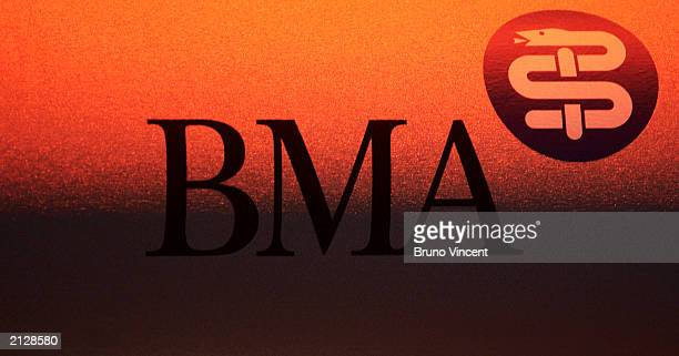 The logo for the British Medical Association is seen at the British Medical Association's Annual Representatives Meeting July 1 2003 in Torquay...