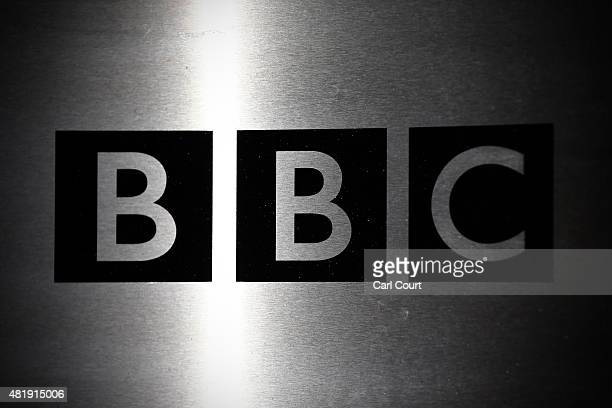 The logo for the Broadcasting House, the headquarters of the BBC is displayed outside on July 25, 2015 in London, England. The main Art Deco-style...