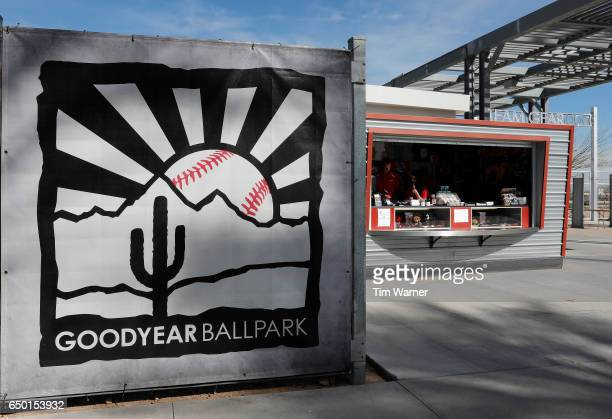 The logo for the Goodyear Ballpark is seen during the spring training game between the Cincinnati Reds and the Los Angeles Angels at Goodyear...
