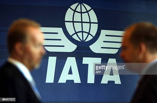 The logo for the International Air Transport Association is seen at their 65th annual general meeting on June 8, 2009 in Kuala Lumpur. The global...