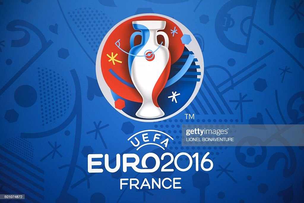 The logo for the UEFA Euro 2016 championships is seen at the Palais des Congres in Paris on December 12, 2015, ahead of the draw for the Euro 2016 finals. Paris hosts the draw for the Euro 2016 finals on December 12 evening, with less than six months now to go before the start of the first 24-team tournament in the competition's history. The coaches of the competing nations will be in attendance in the French capital to find out who their sides will come up against in the group stage of the European Championship, which kicks off on June 10, and what their route to the final might be.