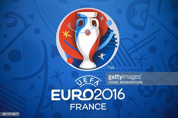 The logo for the UEFA Euro 2016 championships is seen at the Palais des Congres in Paris on December 12 ahead of the draw for the Euro 2016 finals...