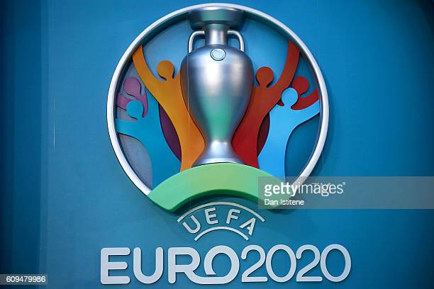 The logo for the UEFA EURO 2020 tournament is displayed during the UEFA EURO 2020 launch event for London at City Hall on September 21 2016 in London...