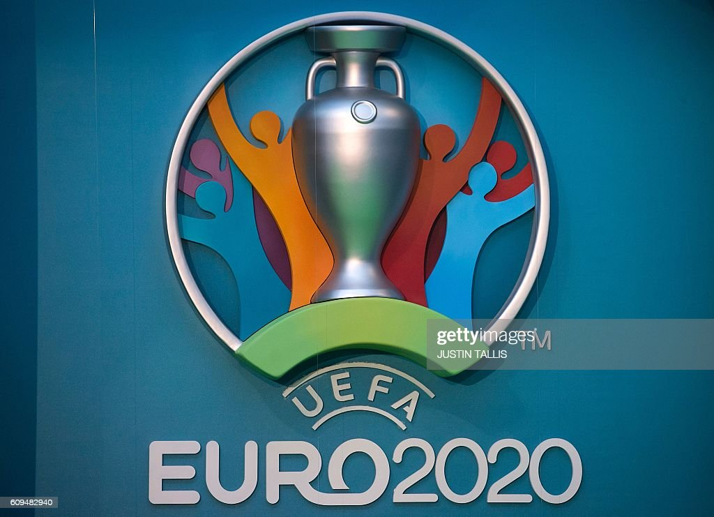 The logo for the UEFA European Championship football competition is displayed during a launch event in London on September 21, 2016. The 2020 UEFA European Championship will see matches hosted in 13 cities across Europe, with the semi-finals and final staged at Wembley Stadium in London in July 2020. / AFP / JUSTIN