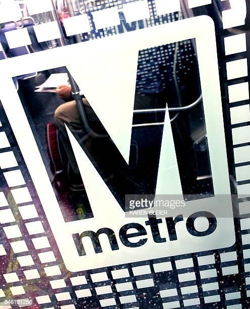 The logo for the Washington Metro is seen July 11 2016 on a train at the Rosslyn Virgina station / AFP / Karen BLEIER