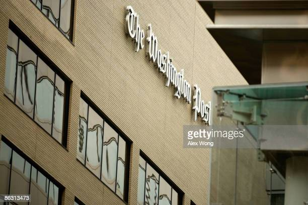The logo for the Washington Post is displayed outside of its offices on May 1, 2009 in Washington, DC. The newspaper has announced its first quarter...