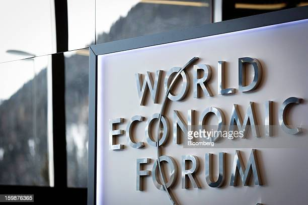 The logo for the World Economic Forum is seen on the wall of the main entrance area to the Congress Center the venue for the WEF meeting in Davos...