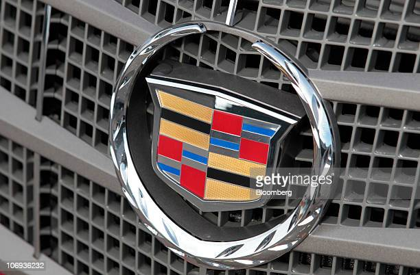 The logo is displayed on a General Motors Co. Cadillac SRX at Don Massey Cadillac dealership in Plymouth, Michigan, U.S., on Wednesday, Nov. 17,...