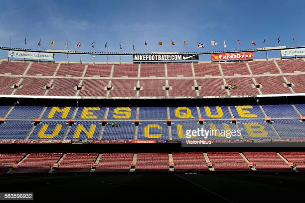 The logo 'Mes Que Un Club' meaning 'More Than a Club' displayed on seats before the La Liga Division One match between FC Barcelona and Sevilla FC at...