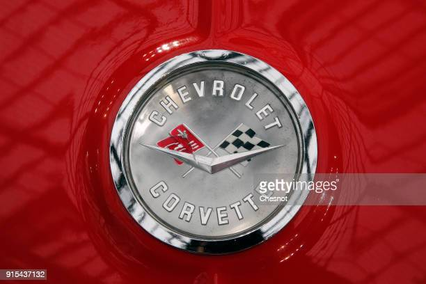 The logo of a Chevrolet Corvette Roadster is seen during a press preview before a mass auction of vintage vehicles organised by Bonhams auction house...
