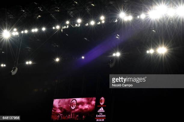 The logo of AC Milan is displayed on scoreboard of Giuseppe Meazza stadium during the Serie A football match between AC Milan and AC ChievoVerona AC...