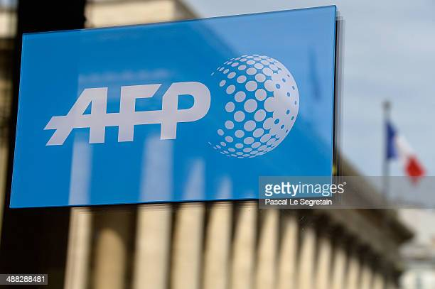 The Logo of Agence France Presse is seen on May 5, 2014 in Paris, France.