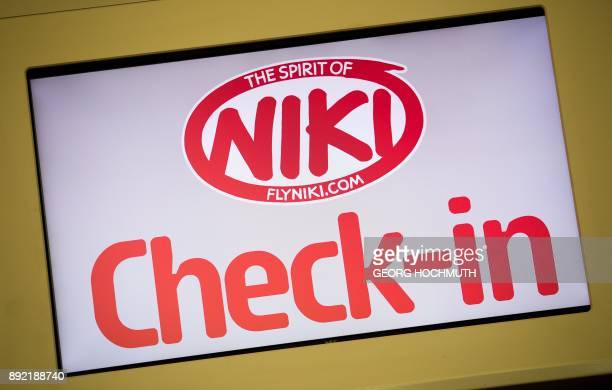 The logo of airline Niki is seen at the Vienna International Airport in Schwechat Austria on December 14 2017 Austria said it has begun organising...