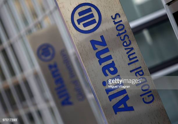 The logo of Allianz Global Investors is pictured next to a company's office building on February 24 2010 in Munich Germany Allianz is to publish its...