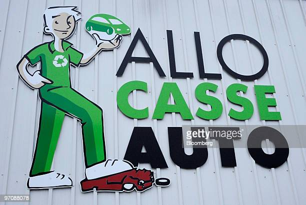 The logo of Allo Casse Auto car demolition is seen in Athis Mons France on Wednesday Feb 24 2010 French consumer spending declined in January after...