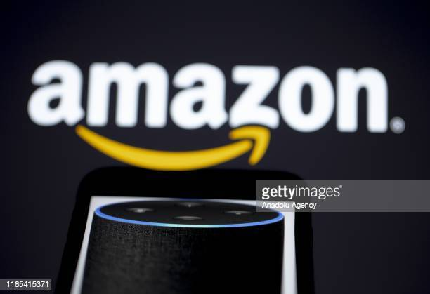 The logo of Amazon multinational technology company is seen with the virtual assistant Alexa developed by Amazon in Ankara Turkey on November 29 2019