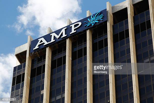 The logo of AMP Ltd is displayed atop the company's headquarters in Sydney Australia on Thursday Feb 20 2014 AMP Australias largest life insurer and...