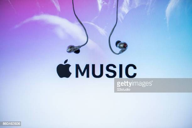 The logo of Apple Music is shown with a pair of earphones on October 11 2017 in Hong Kong Hong Kong