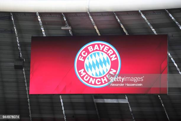 The logo of Bayern Muenchen is displayed during the UEFA Champions League Quarter Final Second Leg match between Bayern Muenchen and Sevilla FC at...