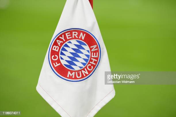 The logo of Bayern Muenchen is seen on a corner prior to the UEFA Champions League group B match between Bayern Muenchen and Olympiacos FC at Allianz...