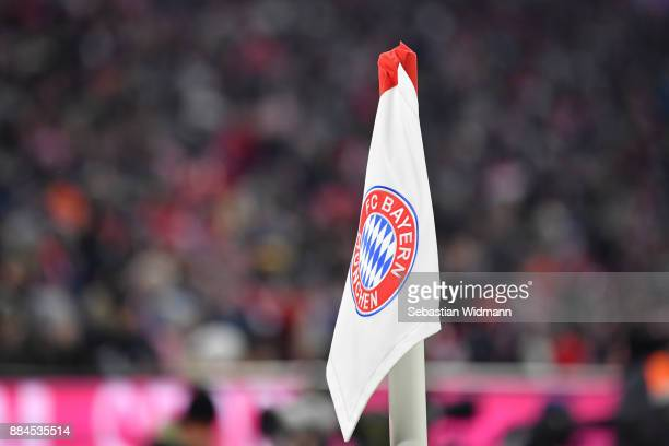 The logo of Bayern Muenchen is seen on the corner flag during the Bundesliga match between FC Bayern Muenchen and Hannover 96 at Allianz Arena on...