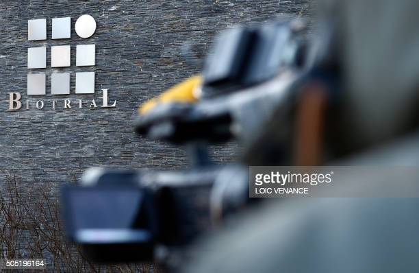 The logo of Biotrial laboratory is seen on the headquarters building in Rennes western France on January 16 after a clinical trial of an oral...