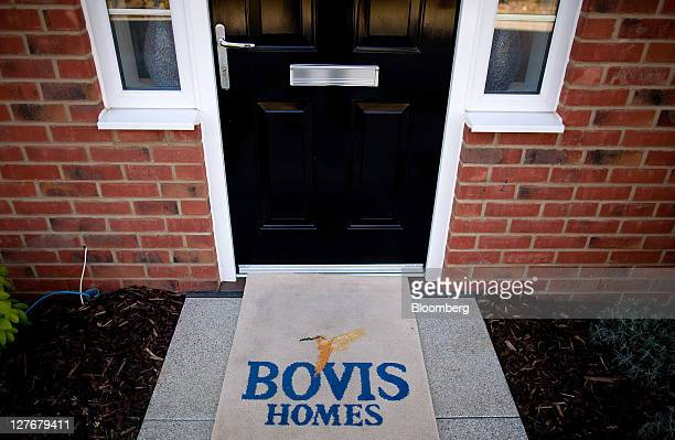 The logo of Bovis Homes Group Plc is seen on a door mat at the company's Kingsmere residential development in Bicester UK on Friday Sept 30 2011 UK...
