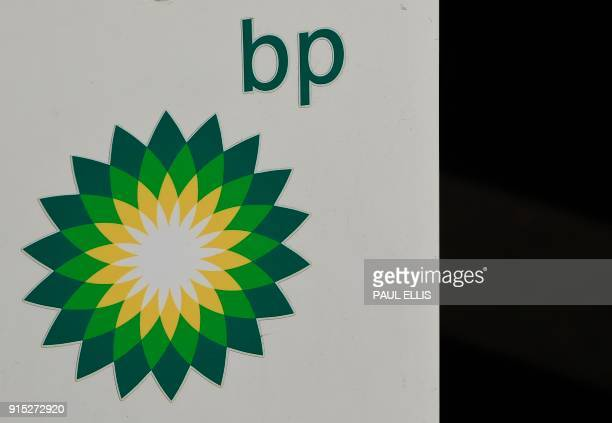 The logo of BP plc is seen at a BP petrol station in Liverpool on February 7 2018 / AFP PHOTO / Paul ELLIS