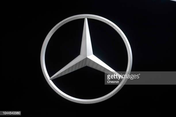 The logo of car manufacturer Mercedes is on display during the first press day of the Paris Motor Show at the Parc des Expositions at the Porte de...