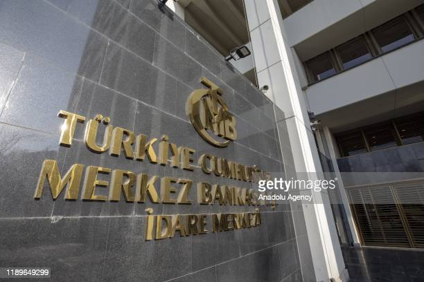 The logo of Central Bank of the Republic of Turkey is seen outside of the headquarters, in Ankara, Turkey on December 20, 2019.