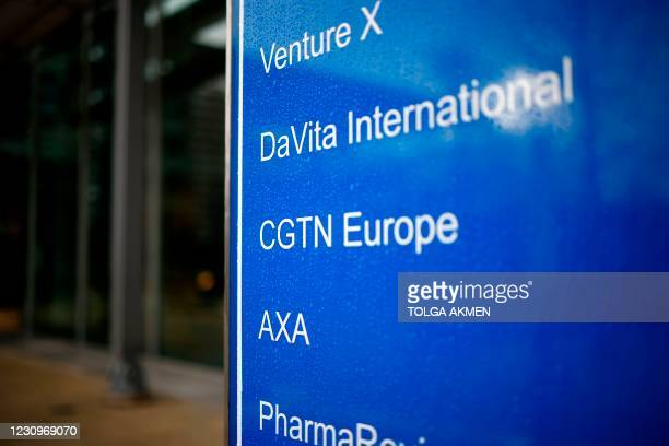 The logo of CGTN Europe is pictured on a sign outside an office block that houses the offices of China Global Television Network, in Chiswick Park,...