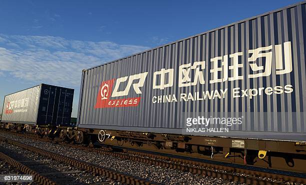 The logo of China Railway Express a unit of China's staterun China Railway Corporation a pictured on the side of shipping containers at DB Cargo's...