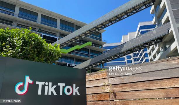 The logo of Chinese video app TikTok is seen on the side of the company's new office space at the C3 campus on August 11, 2020 in Culver City, in the...