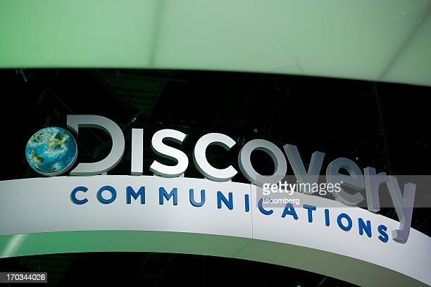 The logo of Discovery Communications Inc is seen on the exhibit floor during the National Cable and Telecommunications Association Cable Show in...