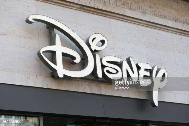 The logo of Disney is seen in the Munich pedestrian zone