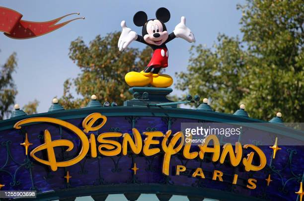 The logo of Disneyland Paris is seen at the entrance of the park on July 13, 2020 in Marne-la-Vallee, near Paris, France. After four months of...